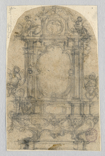 Paper is curved at top. Design shows two lion's feet supporting a stepped base. The central niche is lobed and empty. Laterally are columns flanked by figure.