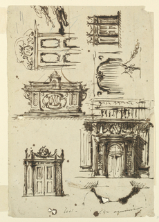 Seven sketches for door cases and overdoors, all with a cipher with the letter M.