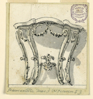 Elevation of a table with four cabriole legs. A scrolling stretcher with a center flower. Festoons hanging from below table.