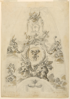 Vertical rectangle showing two small panels of a cupola with pendentives. Cherubs support a string of garlands.
