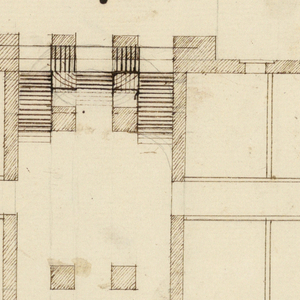 Alternate plan of 1963-47-3, showing the double staircase as turning at right angles, rather than curving, and connecting with the one portico. Four chambers at either side.