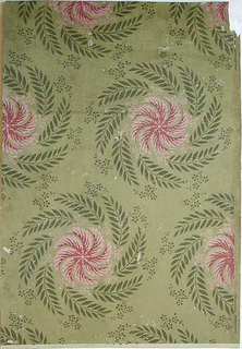 Vertical rectangle. Staggered repeat of large whorls of foliage, or wreath, with pink leaf-forms at center.