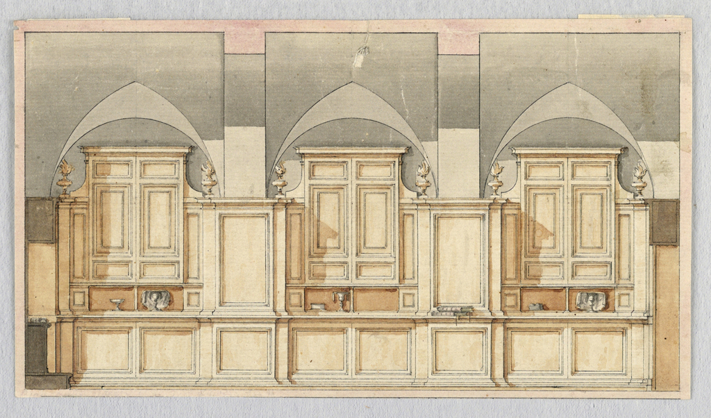 Section. Showing the opposite wall of -1595. Cupboards stand in the bays, connected by panels.