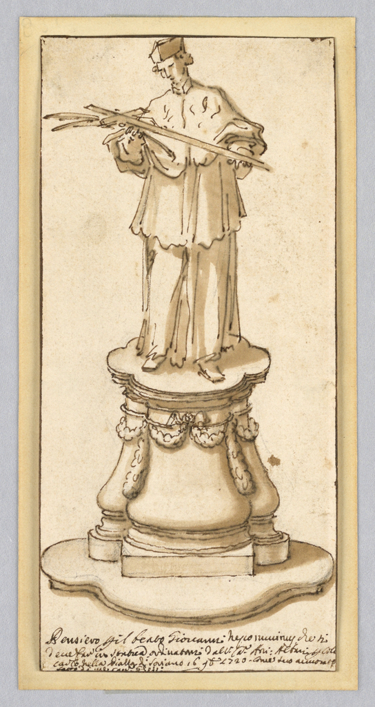 Standing figure of an ecclesiastic, possibly a cardinal or other official of the Church, holding a cross and palm frond. Figure is placed on an ovoid pedestal decorated with swags. 