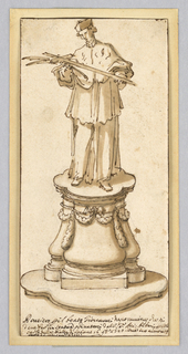Standing figure of an ecclesiastic, possibly a cardinal or other official of the Church, holding a cross and palm frond. Figure is placed on an ovoid pedestal decorated with swags.  Inscriprion with date below.