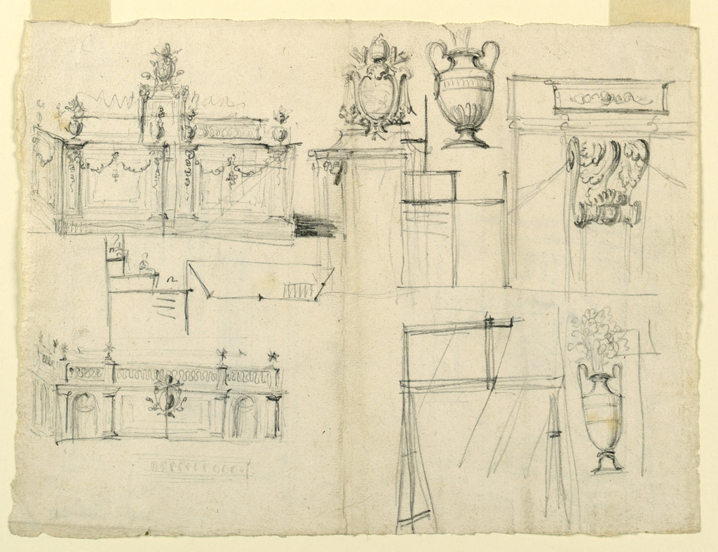 Views of garden architecture and vase designs.