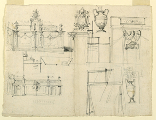 Views of garden architecture and vase designs.