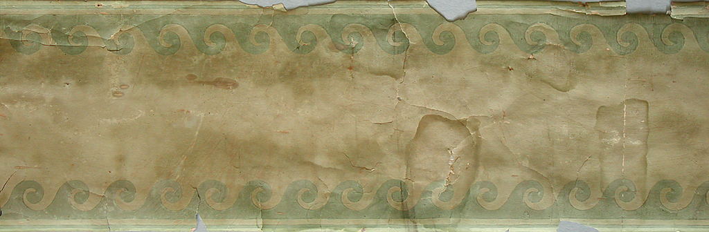 Advancing wave motif at top and bottom. Narrow green bands along either edge. Printed in green on pale green field.