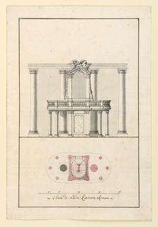 Elevation on top, plan below. An oval platform bordered by a balustrade and supported by six columns and the bottom section of the stairway is to be built around two columns of the nave of a church.