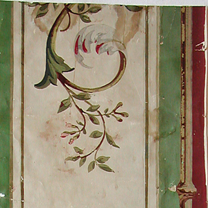 Vertical rectangle of border paper or framing panel. At either side, green stripe bearing brown plant shoot. In center, arabesques of foliage and flowers in green and pink, on pale green field.