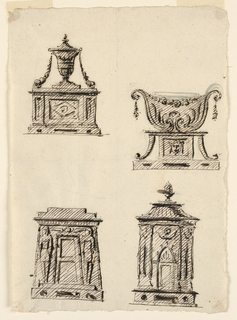 At top, two vases with swags on a plinth. At bottom right, a cylindrical structure with a door. At bottom left, an Egyptian style tomb.