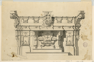 Elevation of an alter with steps. The sepulcher has the shape of a sarcophagus, the mensa being itself the projecting central part of the broader structure. The tabernacle is the center of the upper part, its door being decorated with a monstrance. It is framed by a glory with two cherubim above.