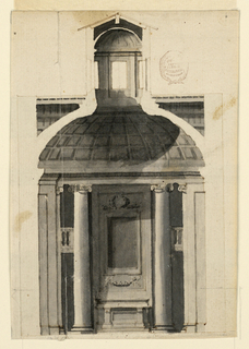 Ionic columns flank the wall panel showing a frame for a painting. An alter mensa stands at its bottom. Balconies connect the columns with the lateral wall panels. Coffered dome with a high lectern.