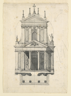 Drawing, Proportional study of a church façade