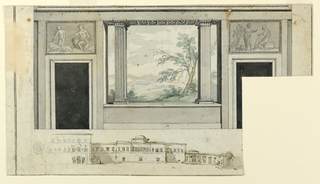 Elevation of a room with overdoor tablets featuring classical figures. Painted onto the wall is a trompe-l'oeil view of a landscape through pillars. Below, a townscape. Portion of paper missing at lower right.