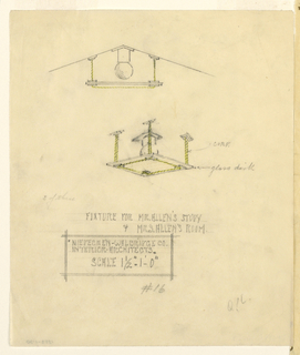 Elevation and perspective of light fixture.