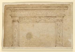 Horizontal rectangle with mantelpiece design. At top, an entablature. At center, a coat-of-arms.