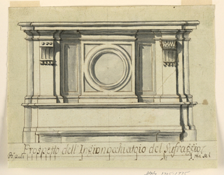 """Horizontal composition of a prayer stool with panels and a circular medallion in the center square. Pilasters in the corners are receding. The bottom captial reads """"Prospetto del Inqionocchiato del Sufraggio,"""" and the sacle reads """"duk pal-mi sei."""""""