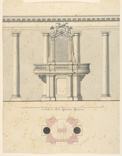 Design for a pulpit without supporting separate columns. Cherubim as brackets at top. The scheme of the project same as 1938-88-3612.