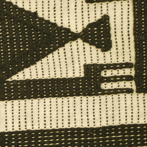 Wrapper with bands of geometric pattern separated by four black stripes on a white ground. Pattern is a repeating figure of a triangle with three-pronged appendages.   The black supplementary wefts are thick and stand off the surface. The binding system creates black vertical lines in the white areas and white horizontal lines in the black areas, for a tonal effect.