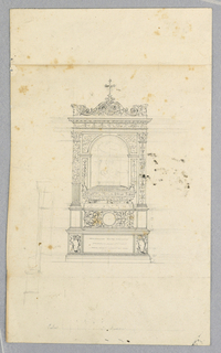 A heavily ornamented casket stands below a catafalque (funeral canopy) with alternative suggestions in the classical style. Illegible inscription at base.