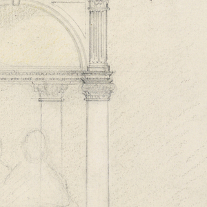 Sketch for Cooper monument. Aedicule, crowned by a pediment. Four Corinthian columns resting on a pedestal, of which the front is decorated with a scene in relief. Four steps at base. Scheme abandoned for Cooper monument, but later used for Phillips Brooks monument in Boston. Reverse rough sketch for a monument consisting of two sections and a pyramidal roof, obliquely shown.