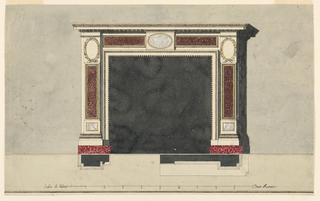 Laterally are pilasters, the shaft of which is divided in three sections. Below are oblongs with bearded masks lying in panels. The central sections have a somewhat smaller width than the other sections. They show panels of colored marble. In the upper sections are ovoidal medallions, framed by branches. The inner frame consists of moldings. Above it is in the center an oblong with an ovoidal medallion with figures. Laterally are parts of a receding frieze showing marble panels. On top are cornices of an entablature. The cast shadow is shown. The wall and the floor are slightly colored. Base line. Below are the plans, at left of the lateral parts, at right of the right half of the entablature; and the s cale: Scala di Palmi… Dieci Romani in black ink. Framine line and stripe are below.