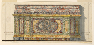 Horizontal composition of colored marble altar. The upper surface of the altar is tripartite with the central part projecting. In the center there is an opening with an eight-pointed star and a wreath with monogram. Above is a richly moulded ledge. Shadow is cast to the right.