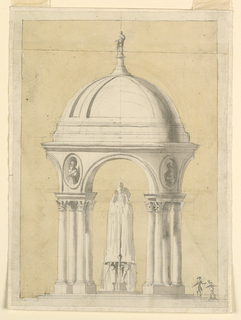 The elevation is shown. Groups of four Corinthian columns carry arches. Ovoidal niches are in the wedges, containing busts. Above is a dome, with a statue of a woman on top. The upper bsain of the fountain is supported by four Atlantes. Two persons are shown at right.