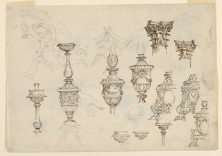 Page with various designs fort balusters decorated with gadrooning, acanthus leaves and masks. At upper right, two capital designs. Light sketches of angels at upper left.