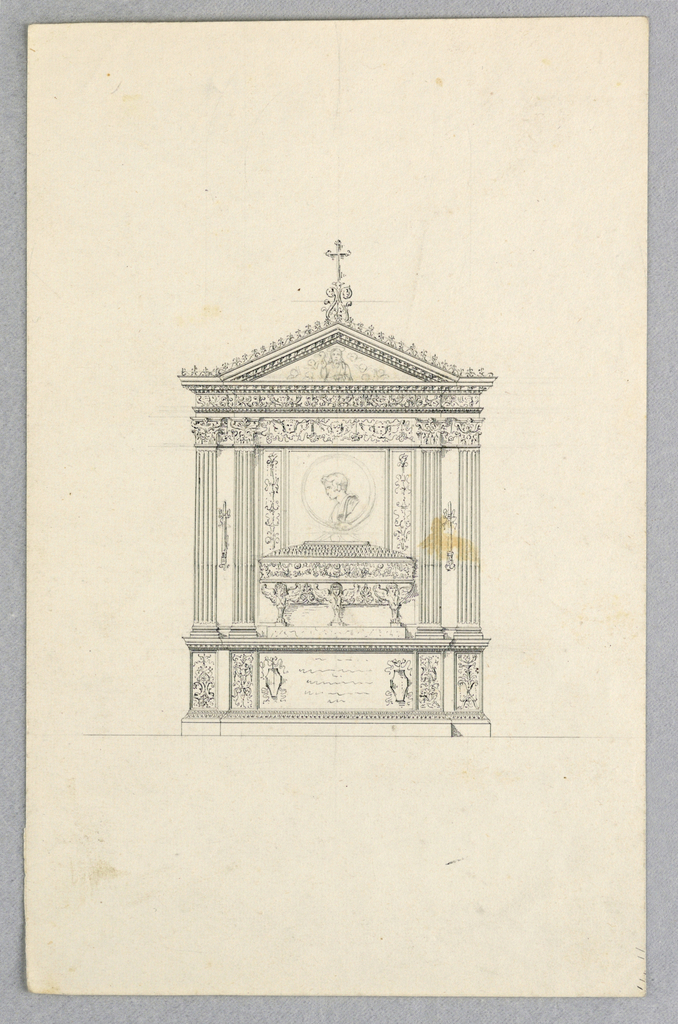 A heavily ornamented casket stands between pairs of pilasters. Above, a profile portrait and a triangular pediment with Christ and angels. Illegible inscription at base.