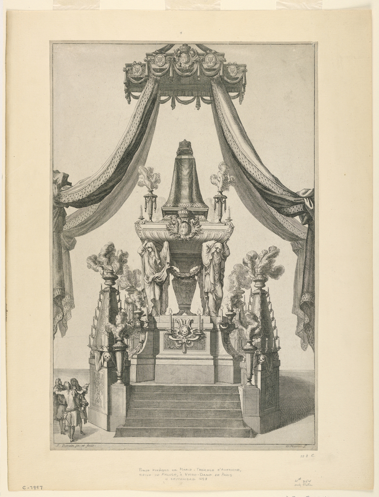 Vertical rectangle. The catafalque is shown supported by mourning figures standing on a high platform. Ermine-trimmed curtains are supported by a balduchin. A group of figures stand at the left. Below, artists' names.
