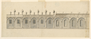 Drawing, Elevation of a Colonnade in a Garden, 1750–99