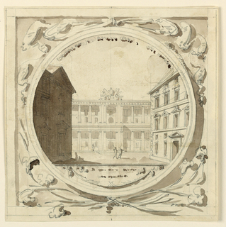 Square rectangle. Stage scenery inscribed in circle, two actors in square with palace around. Ornaments in corners of drawing. Possible design for relief.