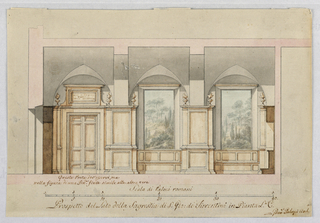 Section. At left is a door opening. At the opposite wall is a cupboard. The long wall is subdivided into three bays with pointed vaults. In the two on the right are landscape paintings with benches below them.