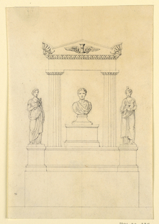 Vertical rectangle showing two fluted Doric columns supporting an entablature and pediment with a singed hourglass. Below, the bust of a young man on a pedestal. On either side are female sculptures. At left, Justice holds a judiciary mace; at right Charity, with a fire on her head, nurses a child.