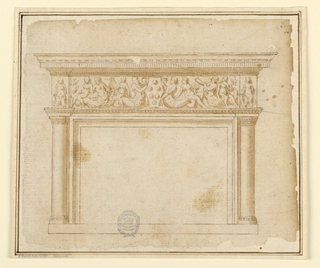 Design for a mantelpiece. At top, an entablature. Below this, a grotesque frieze with medici-style arms.