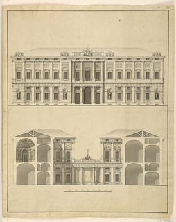 Design for the Facade and Cross-Section of a Palace.