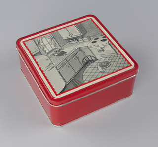 Red tin box with lid with black and white label on top; illustration of 1940s kitchen scene.