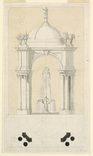 The elevation is on top. The fountain has two basins; the upper one is supported by a short column. The pavilion consists of four arches with four obliquely disposed groups of supports, pairs of columns standing in front of walls. Above is a dome.