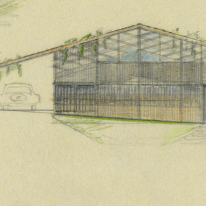 Hill slopes to right. Two floors indicated, with wall of upper floor mostly glass. Automobile shown in car-port. Lower left, graphite sketch of detail of side panelling.