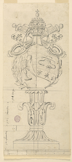 Measured drawing showing laurel wreath enclosing a winged hourglass and cardinal's hat. Above, the papal keys. Below, a shaft composed of acanthus leaves.