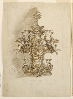 Central column of clouds with cherubs and pair of angels holding aloft candelabra. Scrolling base.