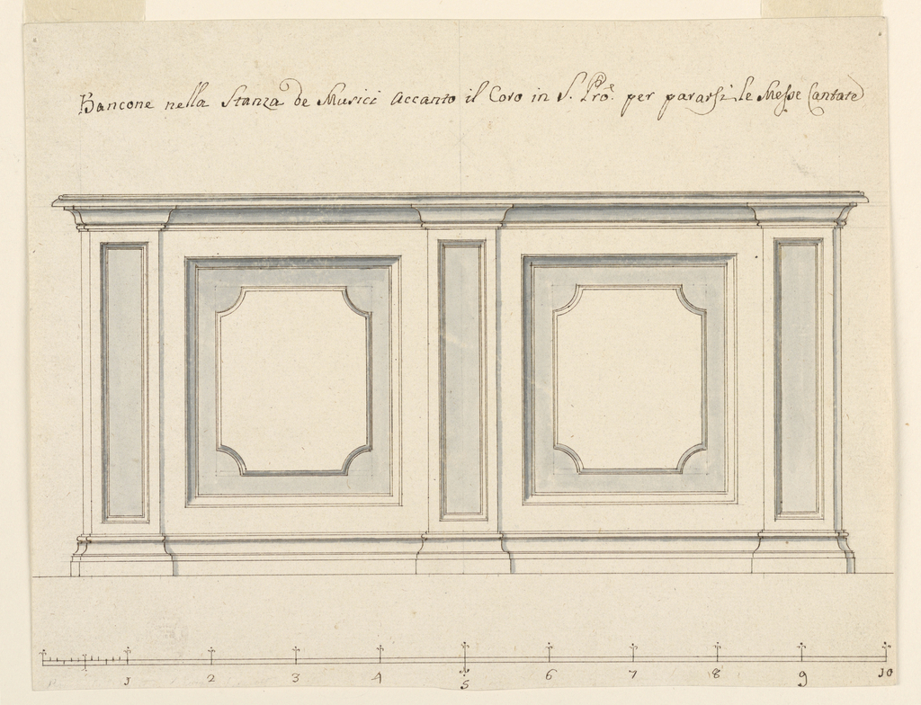 Elevation of a dado with flat pilaster and recessed panels. Scale at bottom.