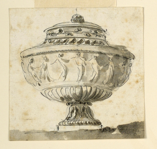Elevation of an urn decorated with a frieze of dancing women. The lower part of the body has gadrooning.