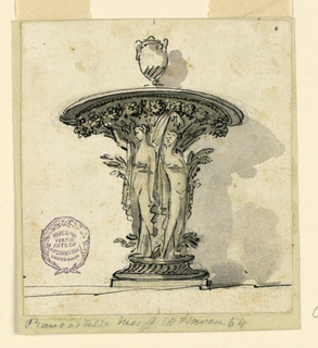 Elevation of a table ornament in the form of nudes supported a plate decorated with flowers. At top, a vase.
