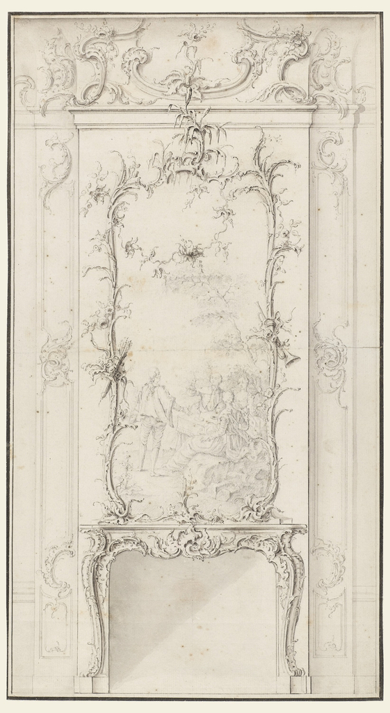 Wall elevation featuring fireplace with overmantel and cove above, all in the Rococo style.  C- and S-curves abound on every section of the ornament.  In the center of the overmantel one finds a representation of a pastoral scene framed by feathery plant ornament with raffle leaves that curve over central field and onto the chimney panel.  Some of the plant ornament extends past the entablature and into the area of the cove.
