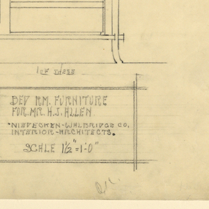Page divided into two registers horizontally about 3/4 down the page. Upper register, left: side view of wooden dresser with mirror attached atop it, two doors, and four legs; right, front view of same dresser with right door opened to reveal top drawer and three sliding trays inside.