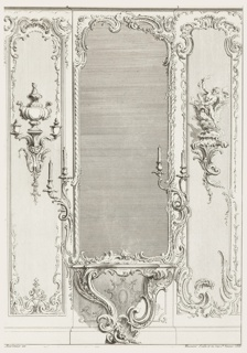 "A variation of ""le Portugal"" wall decoration and pier mirror showing a tall center pier mirror flanked with candelabra, rococo console, and table below. On wall at left, a wall bracket with a large covered vase at top, two small covered vases below, and a mask. At right, a wall bracket with nude male bearded figure holding a sheaf of wheat (?)."