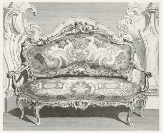 Design for settee in high-Louis XV style. Elaborately carved frame of shell motif, with leaves and flowers. Upholstery shows a swirling design, cartouches and flowers.